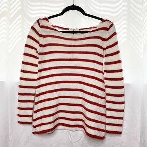 Zara Knit red white striped bow neck sweater